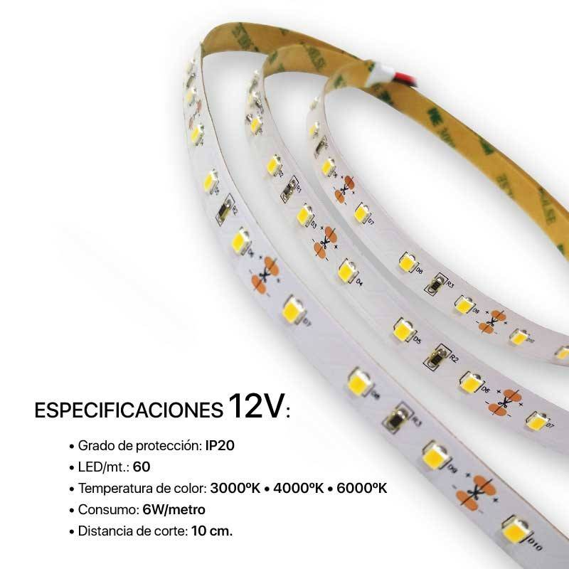 TIRA LED 2835 CON PROTECCIÓN IP20 Y 60 LED/mt.
