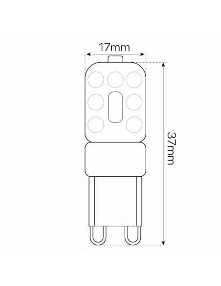 BOMBILLA G9 LED 2 pin entrelazados. Bombilla pequeña led, dimensiones frontales
