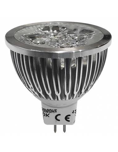 BOMBILLA DICROICA LED 4X1W MR16. 2 PIN, trabajo de 12V.