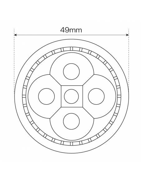 BOMBILLA DICROICA LED 4X1W MR16. 2 PIN, dibujo, medida anchura.