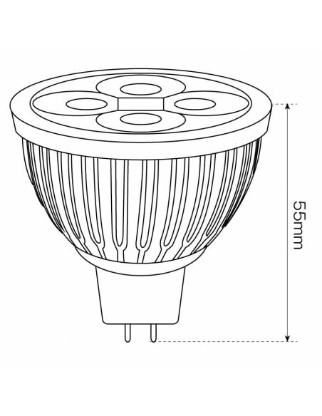 BOMBILLA DICROICA LED 4X1W MR16. 2 PIN, dibujo, medida altura.
