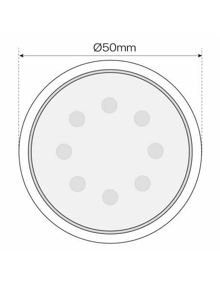 BOMBILLA DICROICA LED SMD 7W GU10 dibujo técnico, dimensión anchura.