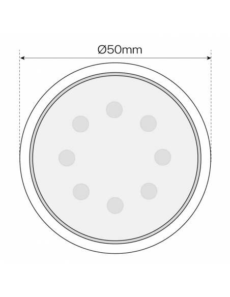 BOMBILLA DICROICA LED SMD 7W GU10 REGULABLE dibujo técnico frontal. dimensión altura.