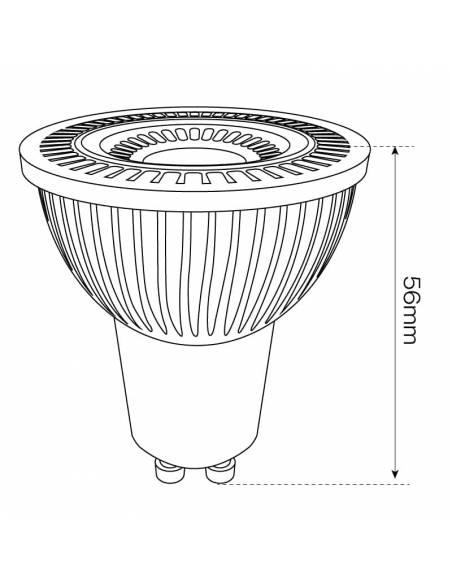 BOMBILLA DICROICA LED COB 1X5W GU10 imagen LED42 dibujo dimensiones alto.