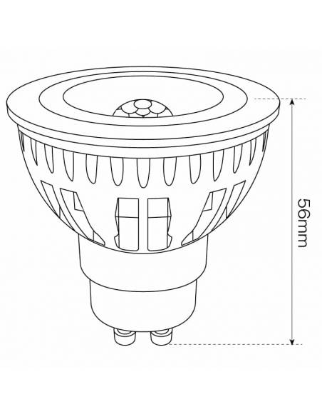 BOMBILLA DICROICA LED COB 1X6W GU10, con apertura estrecha de luz. Dimensión alto.