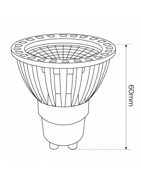 BOMBILLA DICROICA LED D-ECO COB 1X6W GU10 aluminio y cristal. Dimensión alto