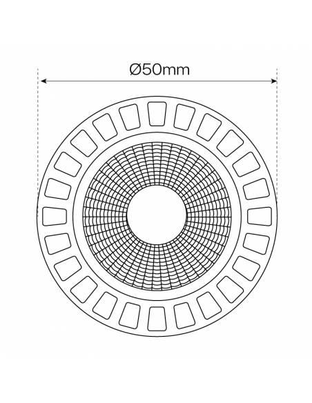 BOMBILLA DICROICA LED D-ECO COB 1X6W GU10 aluminio y cristal. Dimensión ancho