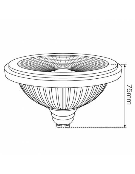 BOMBILLA LED GU10 15W, AR111 DICROICA de ALUMINIO, dibujo dimensión alto.