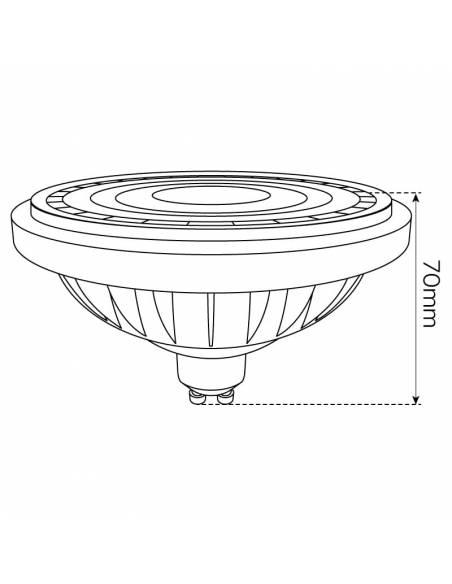 BOMBILLA LED GU10 15W, AR111, LAMPARA DICROICA ECO MODE dibujo alto.