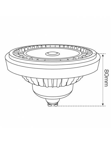 BOMBILLA LED OSRAM GU10 DE 15W, LÁMPARA AR111 PRO. Dibujo dimensión alto.
