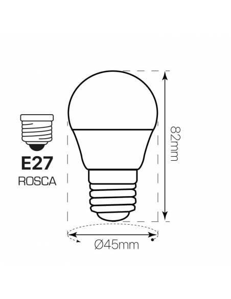Bombilla de led 6w de casquillo e27. Dibujo técnico, dimensiones y medidas.