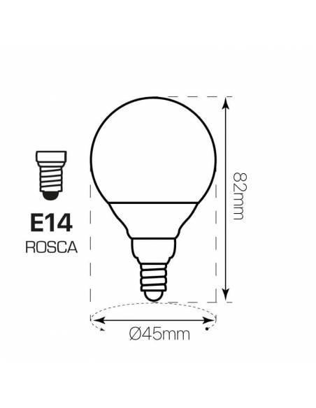 BOMBILLA ESFÉRICA DE 6W TECNOLOGÍA LED con tornillo o rosca E14, dibujo técnico, dimensiones
