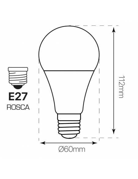 Bombilla led de 9W y rosca E27, material en aluminio y Pc. Dibujo técnico, medidas y dimensiones.