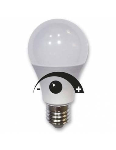Bombilla DIMMABLE, regulable, led de potencia 9W y rosca E27. Se regula su intensidad de luz de menos a más.