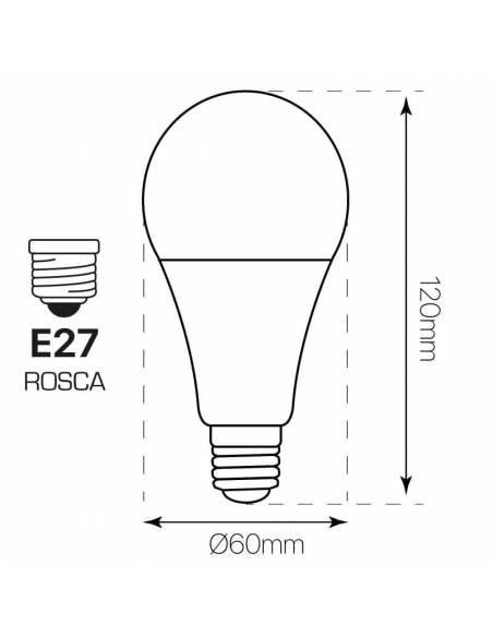 Bombilla led de 15W y rosca o tornillo E27. gran luminosidad y 300º de arco luminoso. dibujo técnico y dimensiones.