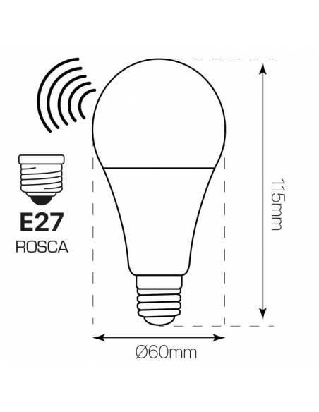 Bombilla led con sensor de movimiento de E27 de 12W. Dibujo técnico, dimensiones y medidas.