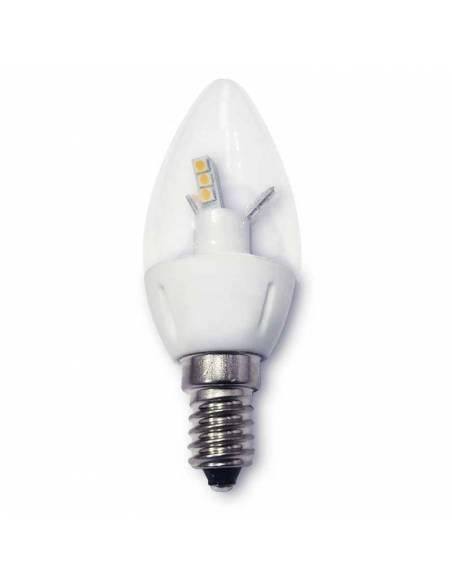 Bombilla vela led E14 de 4W de potencia, fabricada en cerámica y cristal