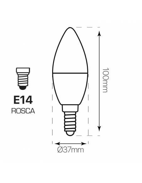 Bombilla dimmable (regulable) tipo vela de 6w y rosca tornillo E14. Dibujo técnico, dimensiones y medidas.