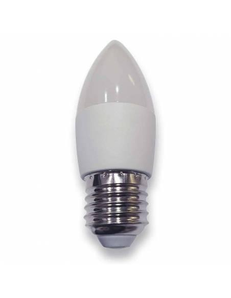 Bombilla vela led E27 de 4W de potencia, fabricada en aluminio y pc.