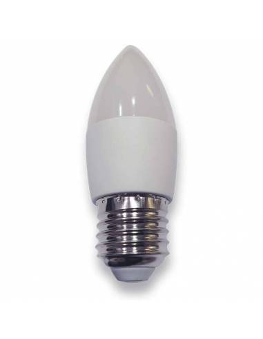 Bombilla vela led E27 de 6W de potencia, fabricada en aluminio y pc.