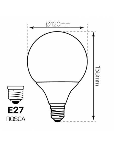 Bombilla globo led E27 de 20W. fabricada en pc. económica y eficiente. Dibujo técnico, dimensiones y medidas.