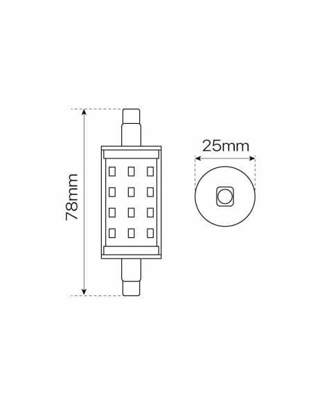 BOMBILLA LED R7s 78mm de 5W, con bornes para conexión a lámparas y apliques. Dibujo técnico, medidas y dimensiones.