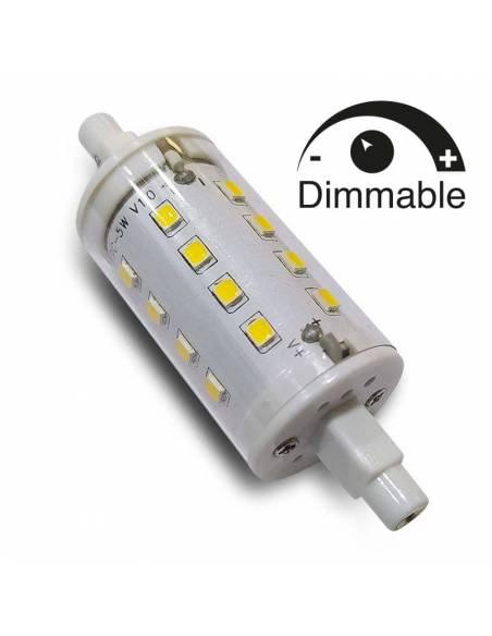 BOMBILLA LED R7s 78mm de 5W, con bornes para conexión a lámparas y apliques.