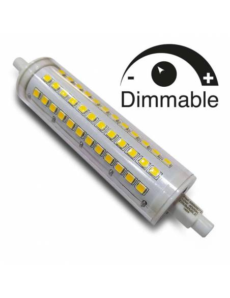 BOMBILLA LED R7S 118mm de 10W, lámpara lineal de led con bornes de conexión.