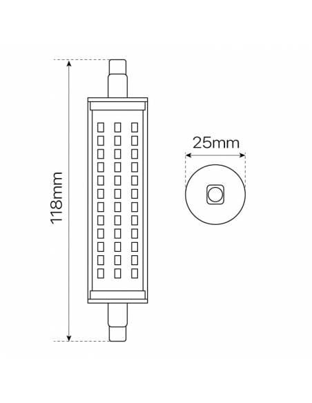 BOMBILLA LED R7S 118mm de 10W, lámpara lineal de led con bornes de conexión. Dibujo técnico, dimensiones y medidas.