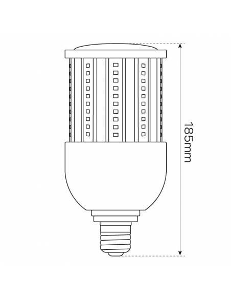BOMBILLA LED MAZORCA E27 DE 27W, modelo CORN. Casquillo, tornillo E40. Para farolas en alumbrado público. Dibujo, altura.