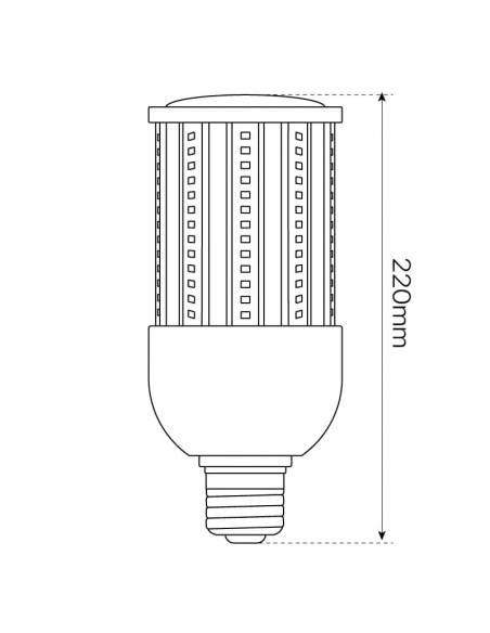 BOMBILLA LED MAZORCA E27 DE 36W, modelo CORN. Casquillo, tornillo E40. Para farolas en alumbrado público. Dibujo, altura.