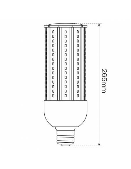 BOMBILLA LED MAZORCA E27 DE 45W, modelo CORN. Casquillo, tornillo E40. Para farolas en alumbrado público. Dibujo, altura.