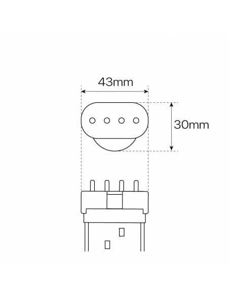 2G11 LED, BOMBILLA 4 PINES DE 22W con driver externo incluido. Dibujo técnico dimensión ancho y alto y conexiones.