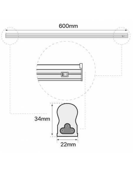 REGLETA LED T5, de 60cm y 10W. Dibujo técnico medidas.