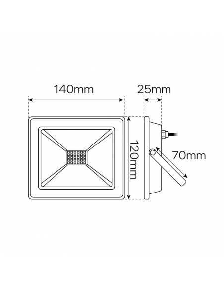 Proyector led de 20W para exterior, Modelo ECO. dimensiones y medidas