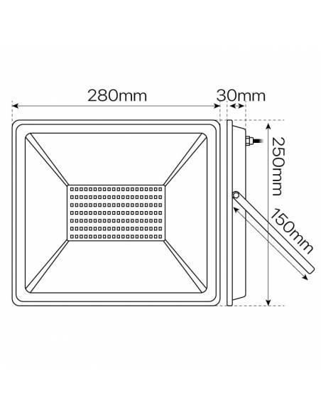 Proyector led de 100W para exterior, Modelo ECO. Dimensiones y medidas