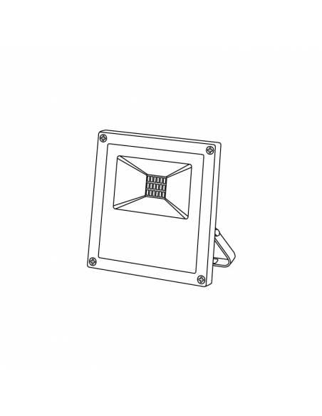 Proyector LED 10W de exterior, modelo FORK. Dibujo técnico.