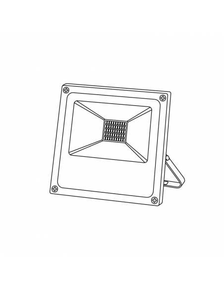 Proyector LED 20W de exterior, modelo FORK. Dibujo técnico