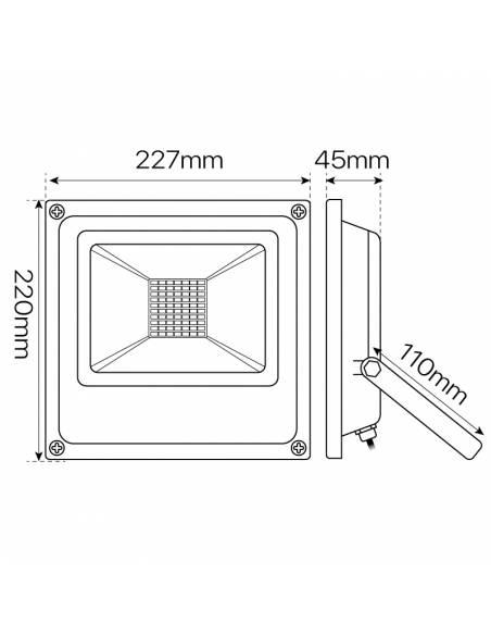 Proyector LED 30W de exterior, modelo FORK. Dimensiones y medidas