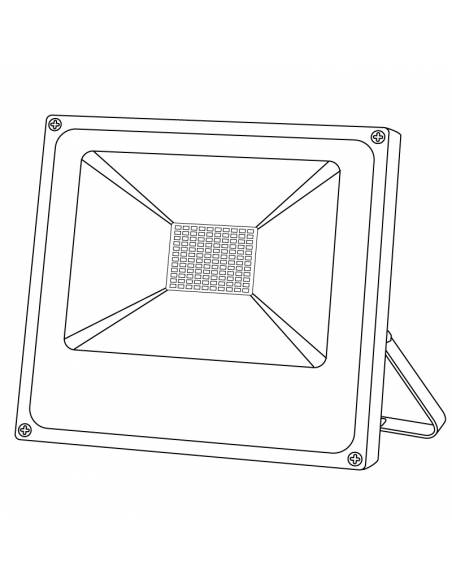 Proyector LED 50W de exterior, modelo FORK. Dibujo técnico