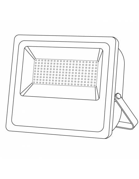 Proyector LED 100W de exterior, modelo FORK. Dibujo técnico