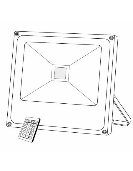 Proyector LED 50W de exterior, modelo FORK RGB. Dibujo técnico