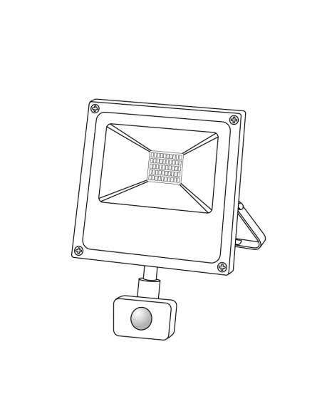 Proyector LED 20W de exterior, modelo FORK con SENSOR DE MOVIMIENTO. Dibujo técnico