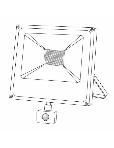 Proyector LED 50W de exterior, modelo FORK con SENSOR DE MOVIMIENTO. Dibujo técnico