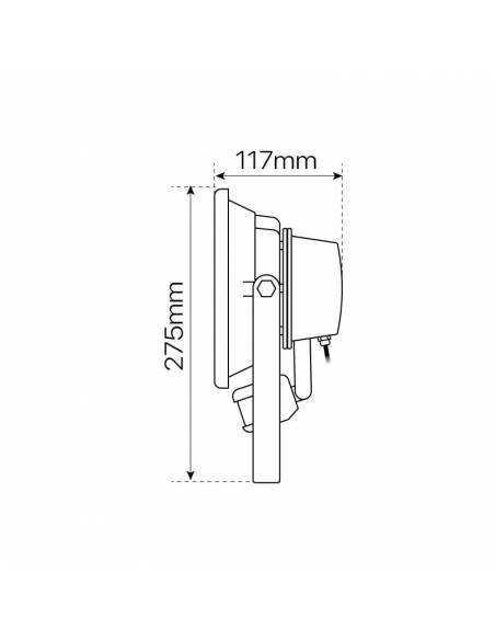 Proyector LED de 30W, modelo EXTERIOR con SENSOR DE MOVIMIENTO. Dimensiones laterales