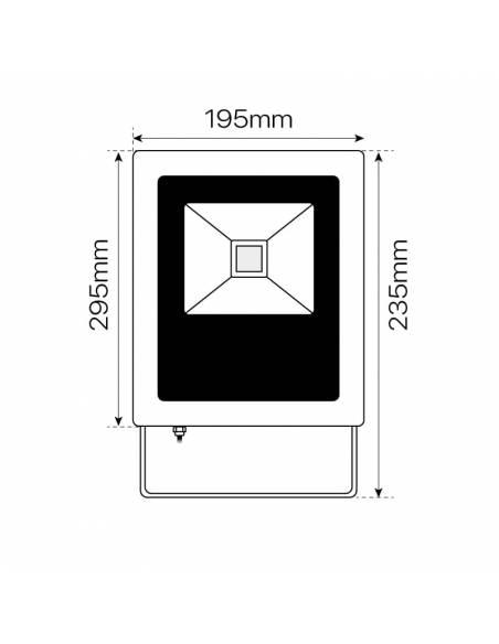 Proyector LED 30W exterior, CONCORD para placas solares. Dimensiones frontales.