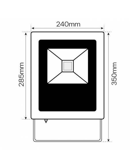 Proyector LED 50W exterior, CONCORD para placas solares. Dibujo técnico, dimensiones frontales.