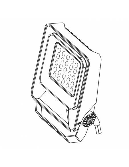 Proyector LED 50W de exterior, MÓNACO. Dibujo 3D