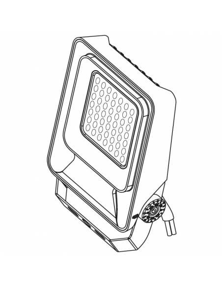 Proyector LED 100W de exterior, MÓNACO. Dibujo 3D