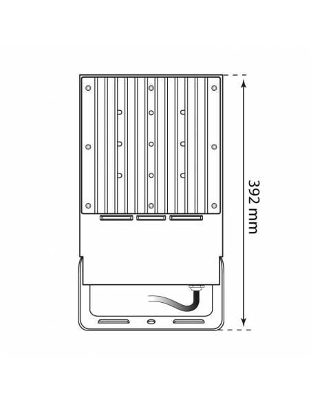 Proyector LED 50W de exterior, VIPER. Dibujo técnico, medidas traseras